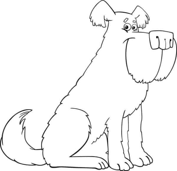 Desenho animado de cachorro para colorir
