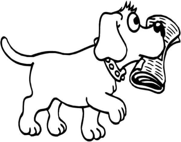 Desenho de cachorro para colorir com jornal na boca