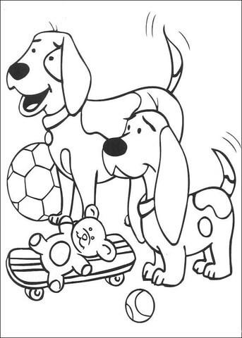 Dupla de cachorro para colorir