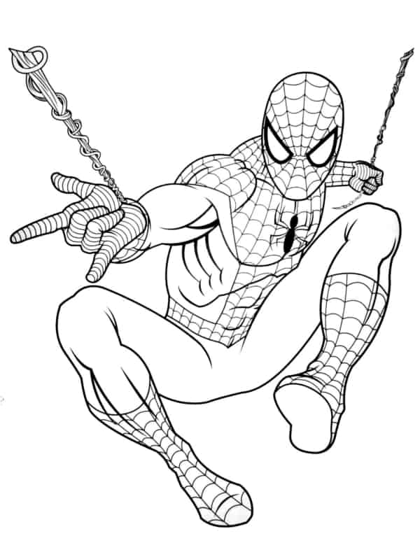 Homem Aranha soltando teia