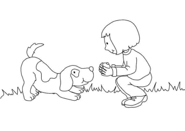 Menina com cachorro para colorir