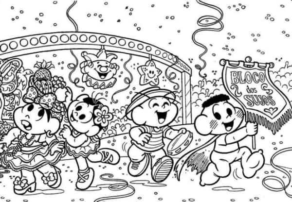 desenho de carnaval da turma da Mônica