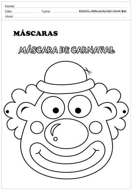 máscara de carnaval de palhaço para imprimir grátis