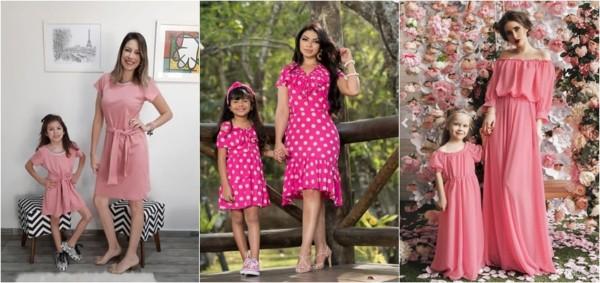 vestido tal mãe tal filha rosa