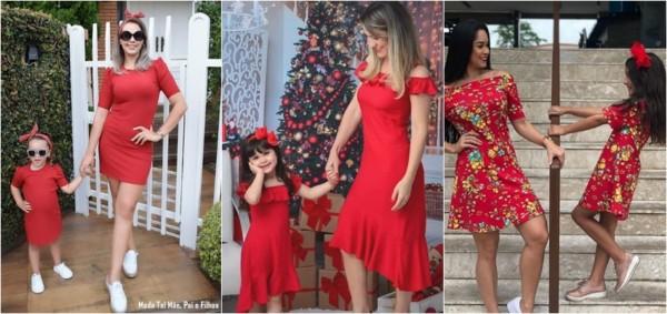 vestido tal mãe tal filha vermelho