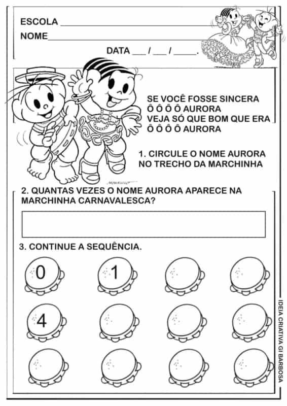 atividade para educação infantil com marchinha