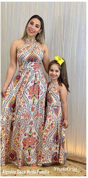 47 vestido longo para mãe e filha