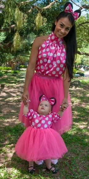 vestido tal mãe tal filha para festa da Minnie rosa