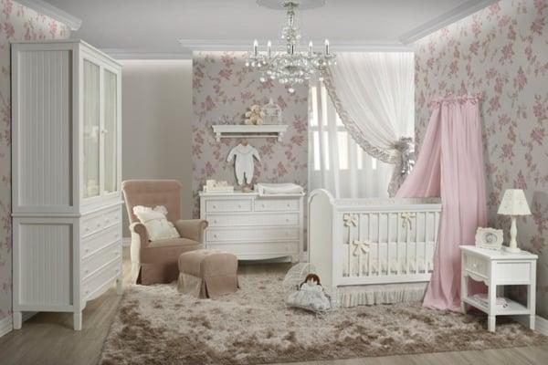 Berço Provençal Branco em quarto infantil
