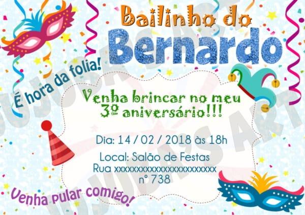 Convite para bailinho de carnaval infantil