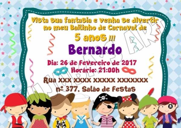 Convite para bailinho de carnaval