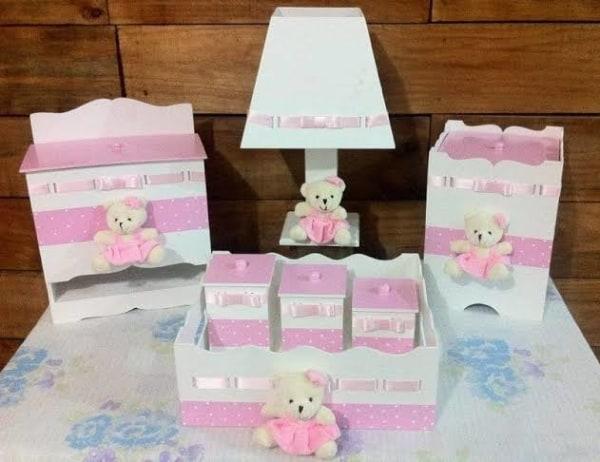KIT Higiene MDF Rosa com ursos