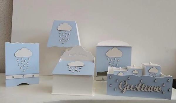 KIT Higiene MDF nuvem azul