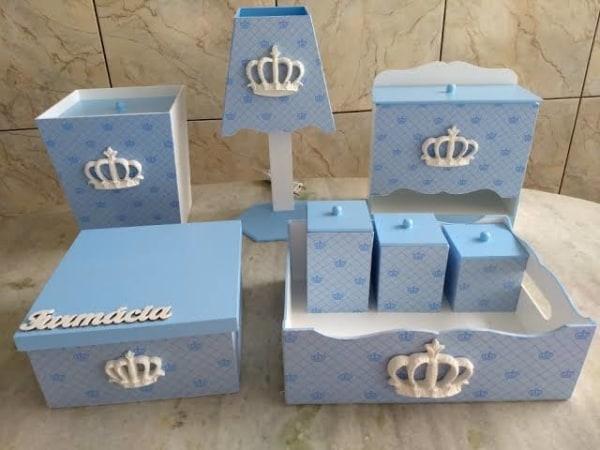 Kit Higiene MDF Azul bonito