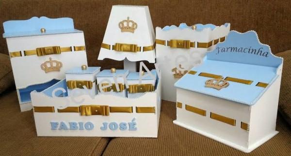 Kit Higiene MDF Azul e dourado
