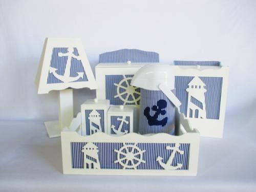 Kit Higiene MDF marinheiro simples azul
