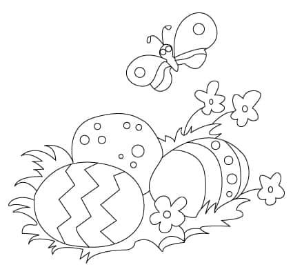 desenho de ovo de Páscoa com borboleta