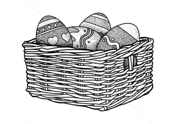 desenho de ovo de Páscoa com cesta