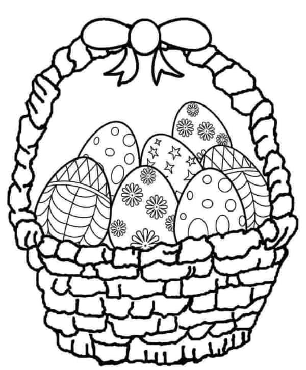 desenho de ovo de Páscoa com cestinha