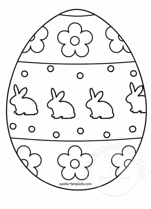 desenho de ovo de Páscoa com coelhinhos