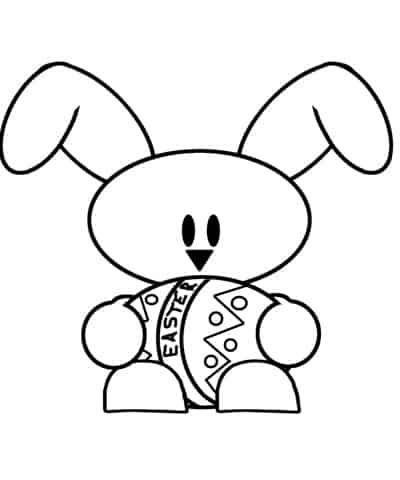 desenho de ovo de Páscoa com coelho na mao