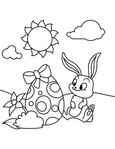 desenho de ovo de Páscoa com coelho