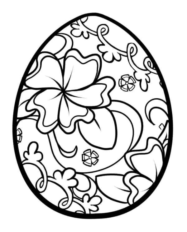 desenho de ovo de Páscoa com flores 1