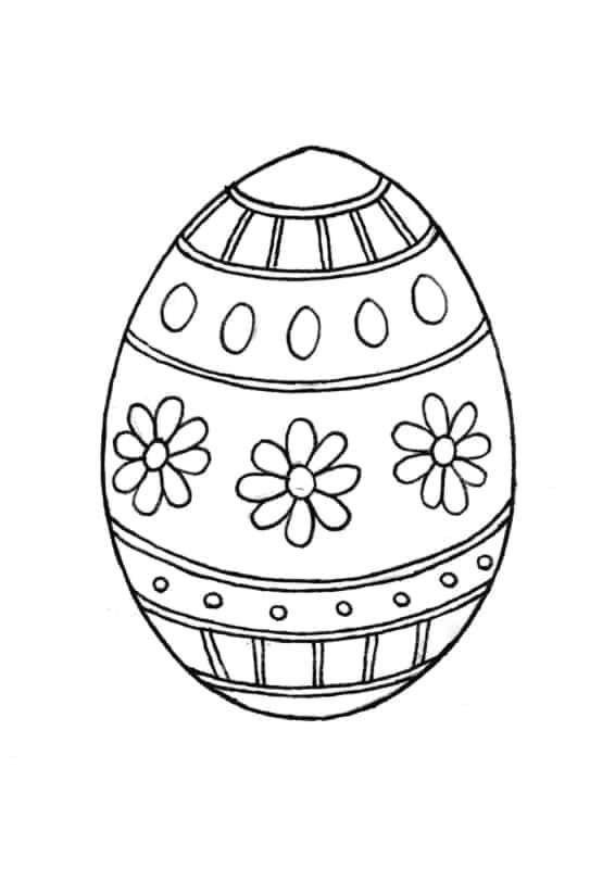 desenho de ovo de Páscoa com flores e bolas