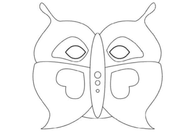 molde de máscara de Carnaval infantil borboleta