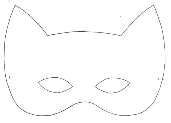 molde de máscara de Carnaval infantil gatinho