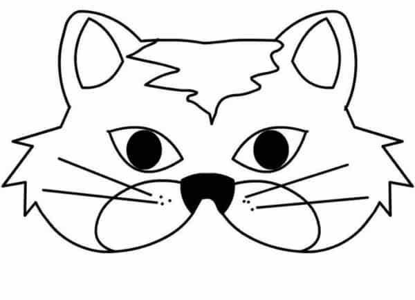 molde de máscara de Carnaval infantil gato