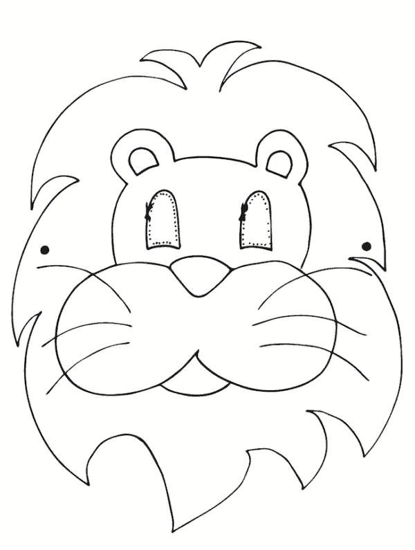 molde de máscara de Carnaval infantil leão