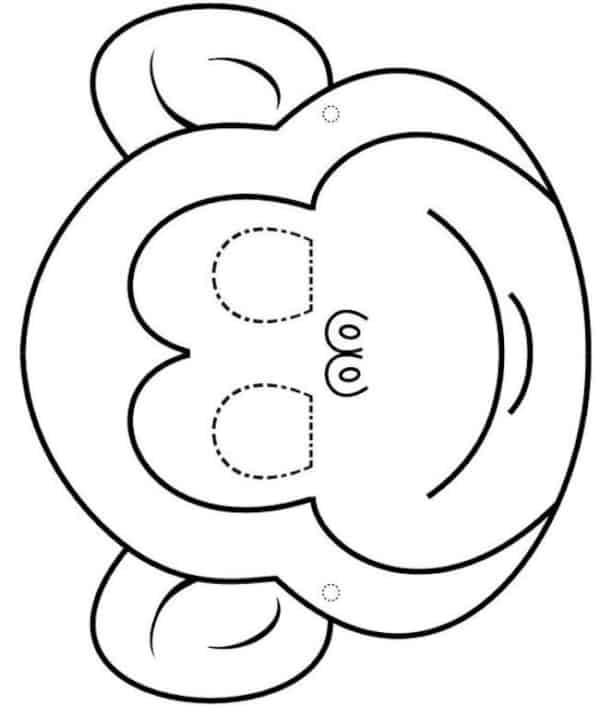 molde de máscara de Carnaval infantil macaco