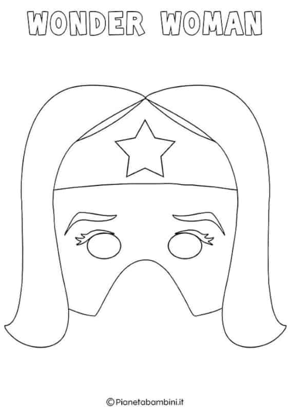 molde de máscara de Carnaval infantil mulher maravilha