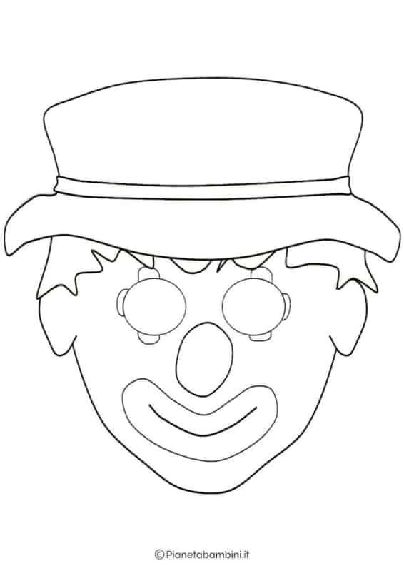 molde de máscara de Carnaval infantil palhaço