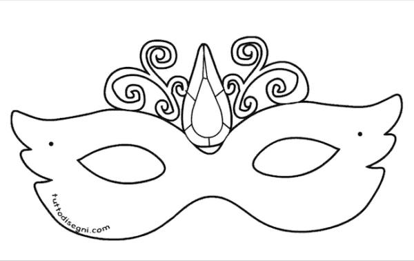 molde de máscara de Carnaval infantil para meninas