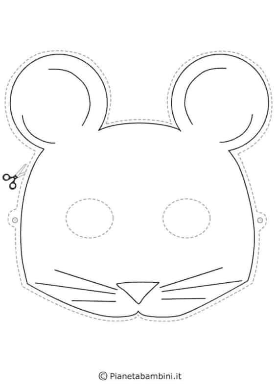 molde de máscara de Carnaval infantil rato