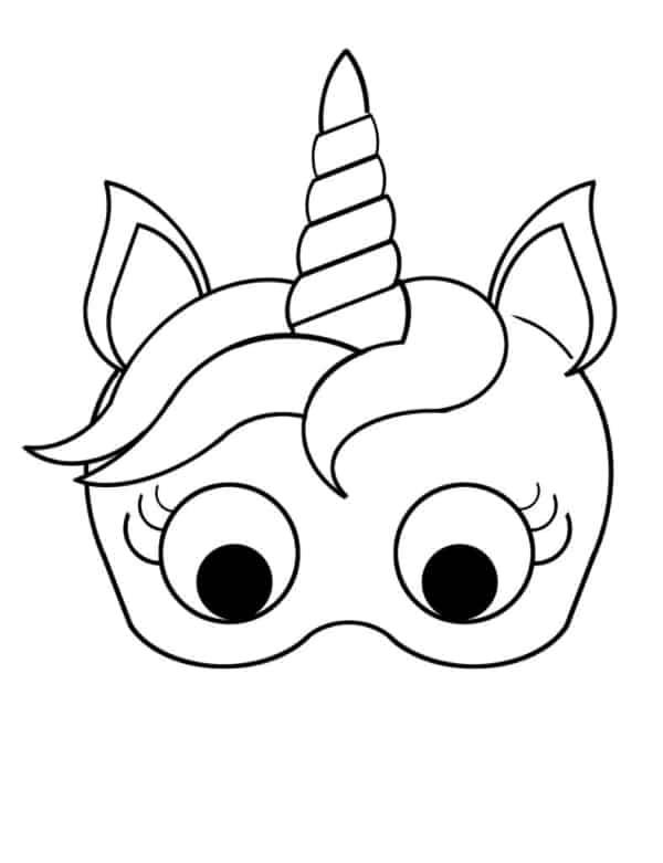 molde de máscara de Carnaval infantil unicornio