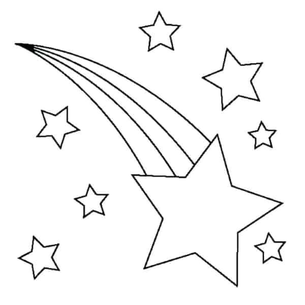 estrela cadente de 5 pontas para colorir