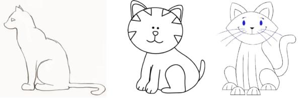 desenha de gato fácil