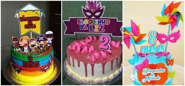 bolo de mesversário de carnaval simples