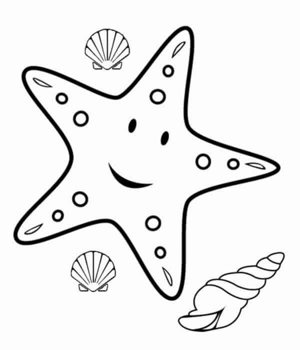 desenho para colorir de elementos do mar