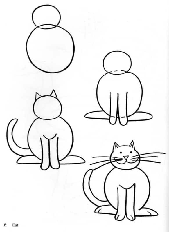 4 passo a passo desenho de gato para as crianças
