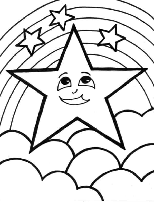 desenho de céu com estrelas para pintar