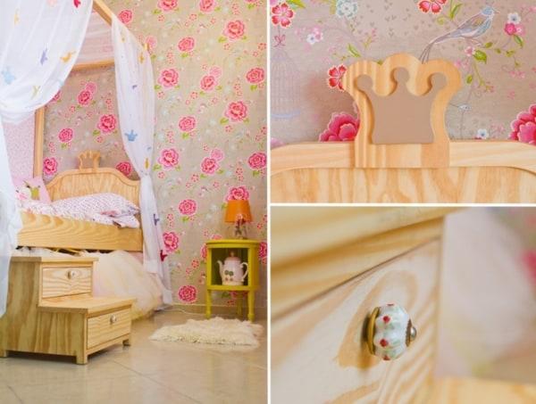 Cama de madeira de princesa
