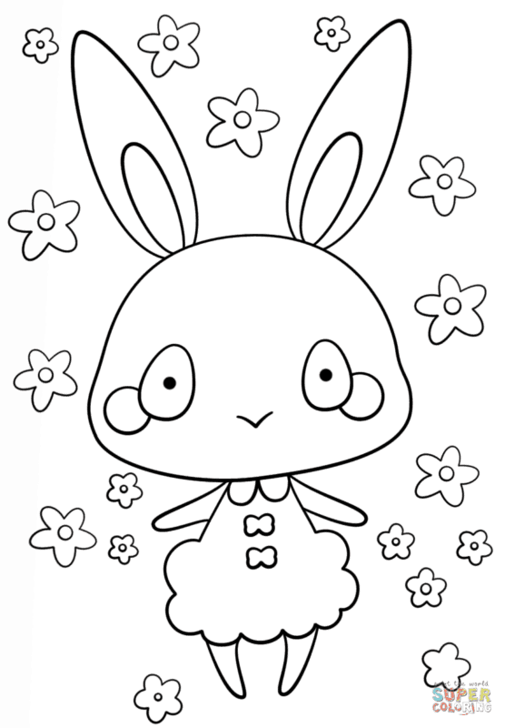 Coelha kawaii para colorir
