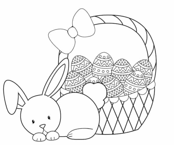 Coelho da Páscoa com cesta de ovos