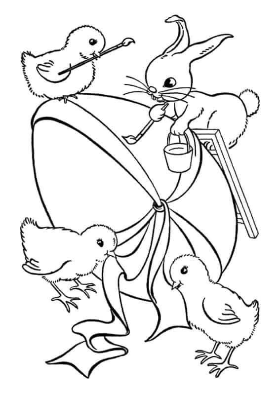 Desenho do coelho da Páscoa para pintar