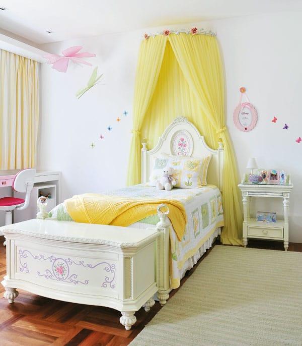 Dossel amarelo para cama tipo princesa