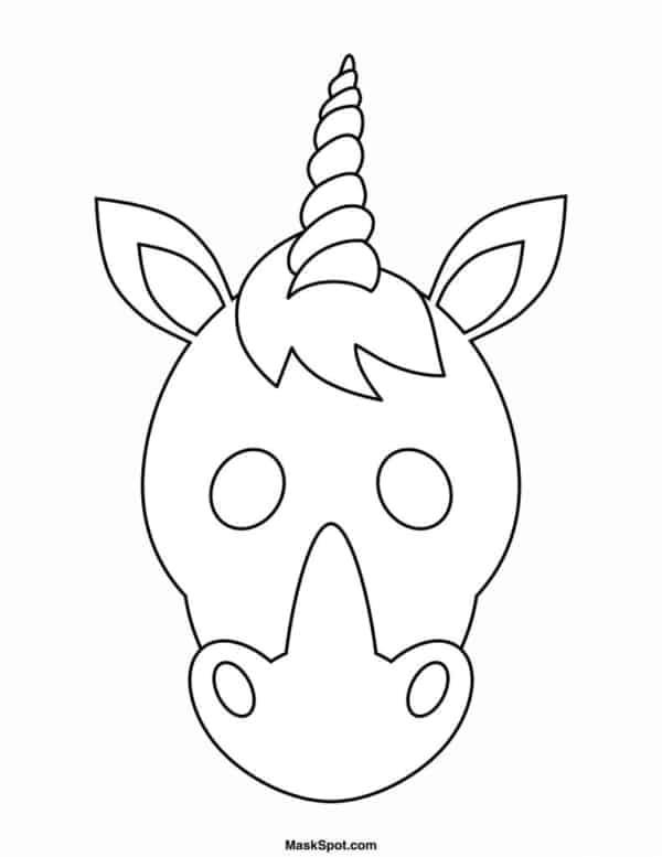 Máscara de Carnaval para colorir de unicórnio42